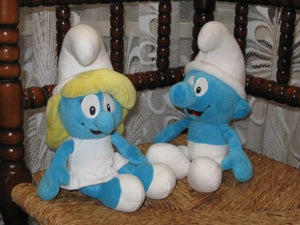 Set of 2 Smurf and Smurfette Plush Toys Puppy SA Belgium 2008