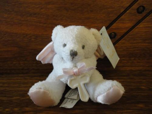 Amscan UK Miniature Angel Bear FAITH with Porcelain Cross Satin Wings All Tags