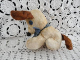 Antique 1940s Beige Brown Silk Mohair Dog Blue Glass Eyes 6 inch