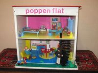 Vintage 70s Okwa Poppenflat Netherlands Small Doll House Condo Flat w Miniature