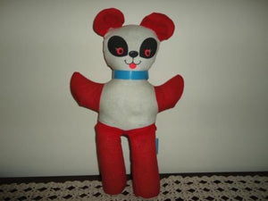 Antique 1960s Ganz Bros Toys Cotton Panda Bear Red White 14 inch Rare
