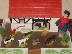 Antique 1950s Gottschalk Germany Farm German Ore Mountains Animals Doll House