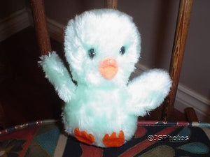 24k Mighty Star Vintage Squeaking Duck Plush Blue Green Toy 5 Inch 7402 1980s