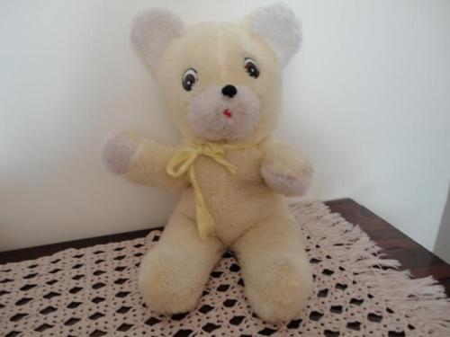 Antique Yellow and White Plush Teddy Bear 18 inches