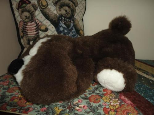 Vintage Laying Puppy Dog Plush Quebec Canada 15 inch