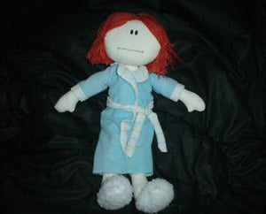 24K Cloth Rag Doll Mom of the Year Yarn Hair Blue Housecoat Vintage 1989