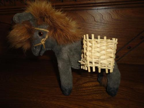 Antique 1950s Jays Made in Ireland DONKEY Toy 6 Inch Real Fur Mane Glass Eyes