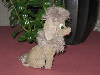 Antique Germany 1950s Velvet Grey Poodle Dog Felt Eyes