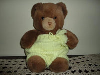 Gund Tender Teddy Bear Grumpy Face Wearing Knitted Shorts Vintage 1983