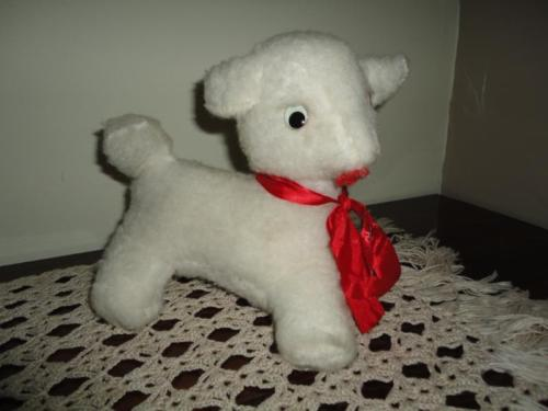 Ganz Bros Toys Canada Antique Plush Stuffed LAMB with Rattle