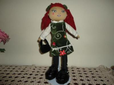 Childrens Place Stuffed CELTIC DOLL Velvet Dress 13 in.