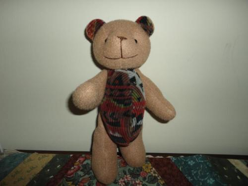 Fabric & Corduroy Teddy Bear Button Jointed RARE