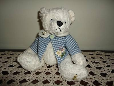 White Corduroy Girl Bear Gingham Jacket with Flowers and Bees