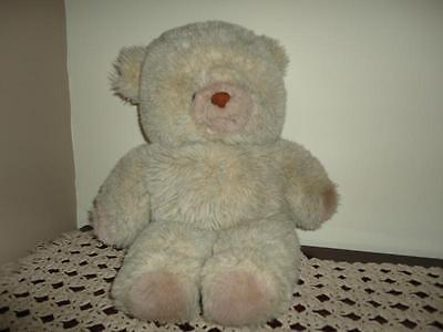 Vintage Furry Grey Plush Stuffed Teddy Bear Ontario Canada 19 inch
