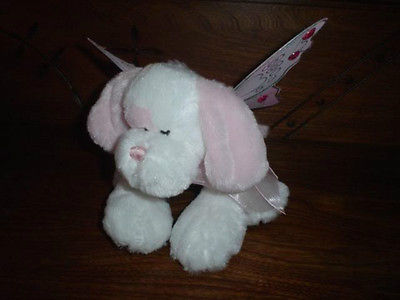 Ganz Heritage Fairy Dust Puppy Plush Jeweled Wings Pink and White