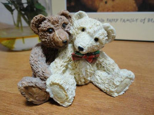 Vintage Replica Steiff Bears Brown & White Painted Carved Stone Figurine RARE