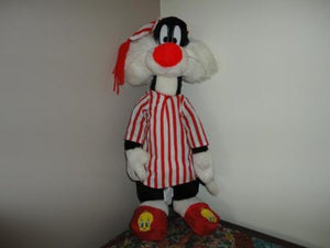 Looney Tunes SYLVESTER in Pajamas and Tweety Slippers 21 inch WB 1997