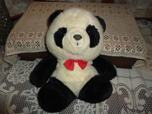 Vintage PANDA BEAR Stuffed Plush 11 Inch