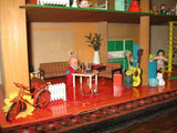 Old Vintage Dutch Holland SIO Doll House Red Roof w Miniatures