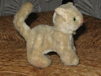 Antique Old German Kitten Cat Mohair 11 cm 4.25 inch Green Glass Eyes