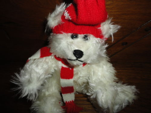 White Shaggy Teddy Bear wearing Knitted Hat & Scarf Pointed Snout