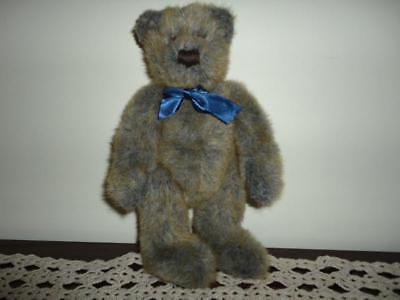 Teddy Bear Shaggy Blue Grey Brown Plush STUNNING !