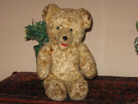 Antique 1930s Dutch Van Gelden Jointed Teddy Bear Plush RARE Open Mouth 11 Inch