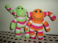 2 Handmade Terrycloth MONKEYS Button Eyes 7 inch Stripes