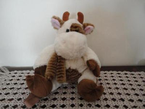 Cow Backpack Pajama Carrying Case White Brown Super Soft Plush 15 Inch