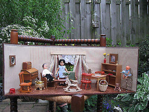 Antique 1940s Doll House German Pine Wood With Accessories German Ari Dolls