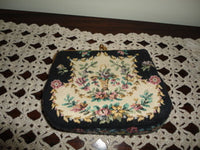Western Germany Flower Tapestry Vintage Purse Satin Lining Golden Metal Clasp