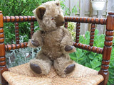 Antique 1950's Large Growler Teddy Bear Plush Fully Jointed Leather Paws 20 inch