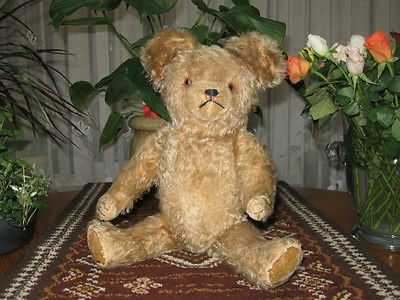 Antique Old Hermann Bear 16 Inch Blonde Mohair w Growler