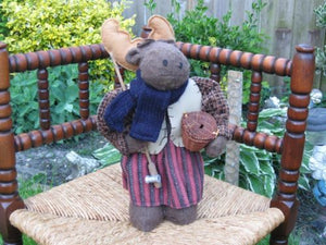 Europe OOAK Handmade Stuffed Moose With Fishing Rod