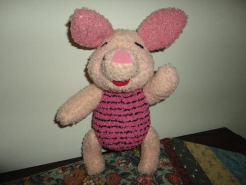 Disney Mattel 1998 TALKING PIGLET Jointed Terry Cloth Battery Operated