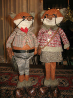 Grandpa & Grandma Foxes One of a Kind Dutch Artist Handmade 18 inch