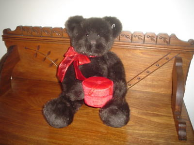 Gund 2003 Dark Brown Bear with Velvet Jewel Box 17""
