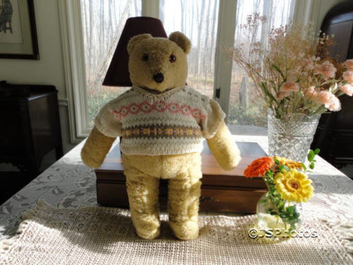 Antique Beige Wooly Plush Teddy Bear in Sweater 18 Inch Big 1960s