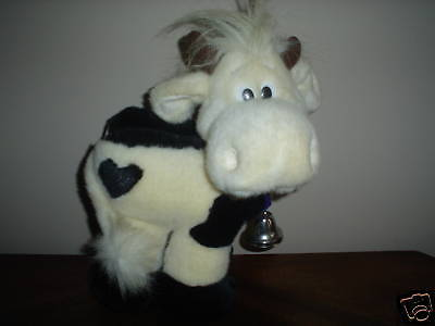 Russ Berrie B&W COW Plush with CowBell - Heart Shaped Spot on Hind