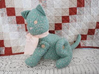 OOAK CAT CANADIAN Artist Cotton Fabric & Buttons 14 In.