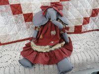 OOAK ELEPHANT Folk Art Doll CANADA Artist Painted Cotton Fabric Rare