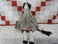 OOAK ZEBRA Folk Art Doll Handcrafted CANADA ARTIST Painted Fabric