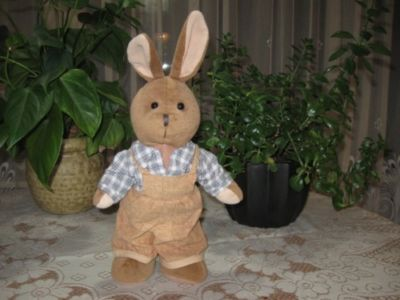 Dutch Bunny Rabbit Plush In Overalls RARE 12.5 Inch Brown Stuffed Animal Plush