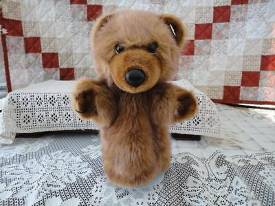 24K Mighty Star Corkie Grizzly Bear Hand Puppet Brown 10 Inch 1985