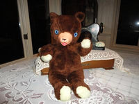 Antique Ganz Bros Toys Brown Teddy Bear Plush Rubber Snout 17 Inch 1960s