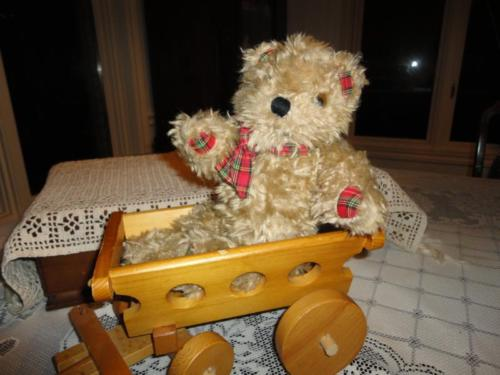 Antique 1960s Shaggy Brown Plush Teddy Red Plaid Paws L1216