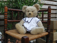 Antique Richard Diem Bear 50 CM White Mohair Fully Jointed 1940s Germany