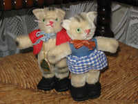 Antique Set of 2 Boy Girl Hermann Cats Germany Mohair Striped Cat 14cm 1960s