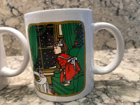 Vintage Tim Hortons Christmas Ceramic Cup Mug Girl at Window Waiting for Santa