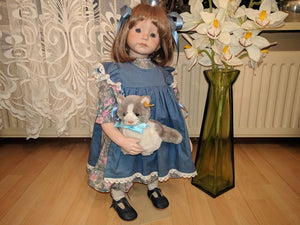 1996 Dutch Artist Signed Handmade Porcelain Doll 25 inch 1/1 Steiff Snuffi Cat